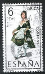Stamps Spain -  Trajes. Lerida