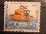 Sellos del Mundo : Europa : Croacia : Dibujo infantil: niños en barca