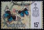 Sellos de Asia - Malasia -  Estado de Pulau-Pinang / Mariposa Azul Pensamiento