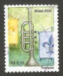 Sellos del Mundo : America : Brasil :  instrumento musical, una trompeta