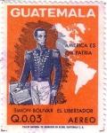 Stamps Guatemala -  Simon Bolívar y mapa de las Américas