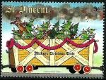 Stamps Saint Vincent and the Grenadines -  San Vicente 1988 Scott 1123 Sello ** Walt Disney El Tren de Navidad de Mickey Chip y Chop en Open Bo
