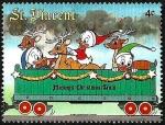 Sellos del Mundo : America : San_Vicente_y_las_Granadinas : San Vicente 1988 Scott 1124 Sello ** Walt Disney El Tren de Navidad de Mickey Huey, Dewey y Louie y