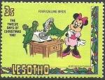 Stamps Africa - Lesotho -  Lesotho 1982 Scott 384 Sello ** Walt Disney Minnie Christmas 4 Loros Llamando por Teléfono 3s