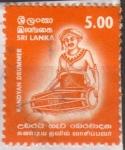 Stamps Asia - Sri Lanka -  1286 - instrumento musical, tambor kandyan
