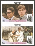 Stamps Europe - Saint Kitts and Nevis -  Nevis - 405 - 406 - enlace del príncipe andrew y sarah ferguson