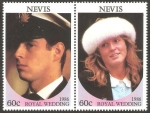 Stamps Europe - Saint Kitts and Nevis -  nevis - 403 - 404 - enlace del príncipe andrew y sarah ferguson