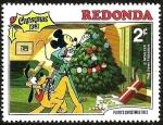 Stamps Antigua and Barbuda -  Redonda (Iles des Antilles) 1981 Sello ** Walt Disney Navidad El Arbol de Navidad de Pluto 2c Mickey