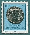Sellos de Europa - Yugoslavia -  Moneda romana - Cayo Valerio Diocleciano