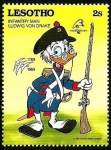 Stamps Africa - Lesotho -  Lesotho 1989 Scott 711 Sello ** Walt Disney Bicentenario de la Revolucion Francesa Infanteria Ludwin