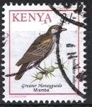Stamps Kenya -  Aves. Indicador grande  o  de garganta negra,