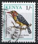 Stamps Africa - Kenya -  Aves. Barbudo rojo y amarillo.