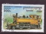 Sellos de Asia - Camboya -  serie-locomotoras
