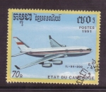 Sellos de Asia - Camboya -  serie- aviones comerciales