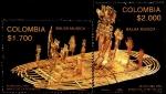 Stamps America - Colombia -  EMISIÓN POSTAL LAGUNA DE GUATAVITA ESCENARIO RITUAL DE LA LEYENDA DEL DORADO