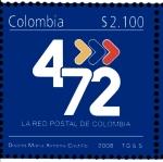 """Sellos del Mundo : America : Colombia : PRIMER DÍA DE SERVICIO PARA LA EMISIÓN POSTAL """"4–72 LA RED POSTAL DE COLOMBIA"""""""