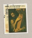 Sellos de Asia - Camboya -  Cristo con la cruz