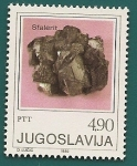 Sellos de Europa - Yugoslavia -  Minerales  - Esfalerita ( Blenda)