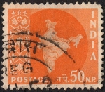 Sellos de Asia - India -  Mapa