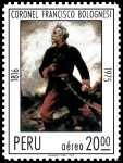Stamps America - Peru -  CORONEL FRANCISCO BOLOGNESI, HÉROE DE LA BATALLA DE ARICA