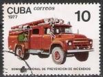 Stamps Cuba -  Cuba 1977 Scott 2147 Sello º Prevencion Fuego Camion Moderno Prevention Incendies Timbre 10c