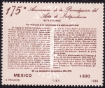 Stamps of the world : Mexico :  175 aniversario del acta de independencia