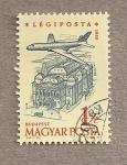 Stamps Hungary -  Avión sobrevolando Budapest