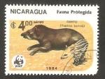 Stamps : America : Nicaragua :  fauna protegida, danto