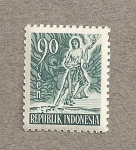 Stamps Indonesia -  Bailarín