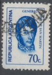 Stamps : America : Argentina :  ARGENTINA_SCOTT 936 GENERAL JOSE DE SAN MARTIN (70C). $0,20