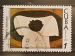 Stamps of the world : Cuba :  pintores cubanos, el mantel blanco,  amelia pelaez
