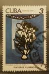 Stamps Cuba -  pintores cubanos, naturaleza muerta con florero,  amelia pelaez