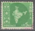 Stamps : Asia : India :  INDIA_SCOTT 305 MAPA INDIA(5NP) $0,20