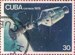 Stamps Cuba -  15 aniv. del 1er Viaje Espacial Tripulado - Acoplamiento espacial.