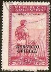 Stamps Argentina -  AGRICULTURA - LABRADOR  Y SOL (SOBRESTAMPACION)