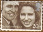 Stamps Europe - United Kingdom -   Princesa ANNA y MARK PHILLIPS
