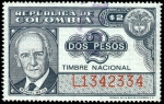 """Stamps of the world : Colombia :  TIMBRE NACIONAL - MANUEL MEJIA -  SERIE """"L"""""""
