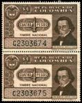 """Stamps of the world : Colombia :  TIMBRE NACIONAL - JOSE MARIA DEL CASTILLO Y RADA - SERIE """"C"""""""