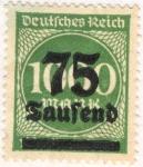 Sellos del Mundo : Europa : Alemania : Deutfehes Reich 1000 a75 1923