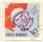 Stamps : Europe : Romania :  G. TITOV segundo hobre en orbitar la tierra 1961