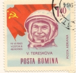 Sellos de Europa - Rumania -  Valentina Tereskova Primera mujer en viajar al espacio 1963