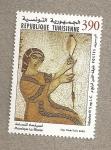 Stamps Tunisia -  Mosaico de la hiladora