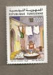 Stamps Tunisia -  La lavandera de Yahia Turki