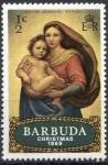 Stamps America - Antigua and Barbuda -  Barbuda 1969 Scott 39 Sello ** Christmas La Virgen y el Niño de Raphael Capilla Sixtina