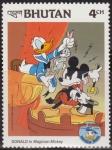 Stamps Asia - Bhutan -  Bhutan 1984 Scott 460 Sello ** Walt Disney Aniv. Donald Duck Mickey Mago 4Ch