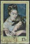 Stamps Africa - Burundi -  Burundi 1968 Scott C59 Sello * Pintura Mujer con Gato de A. Renoir (1841-1919) La Femme du Chat 17F