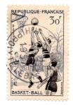 Stamps : Europe : France :  1956-SERIE DEPORTIVA-BASKET-BALL