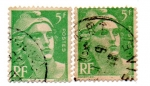 Stamps : Europe : France :  1945-1947-MARIANNE(de GANDON)Tipografiado