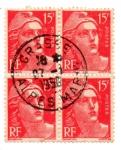 Stamps : Europe : France :  1945-1947-MARIANNE(de GANDON)Tipografiado.lido cuadrito rojo y rosa
