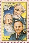 Sellos de America - Cuba -  XX Aniv. del primer hombre en el espacio. Verne, Tsiolkovski y Korolev.